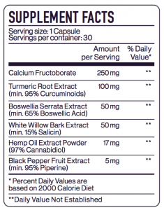 Mobility Capsules 500mg Supplement Facts